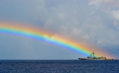 Heritage Painting - Rainbow Forms Over Uss Simpson Us Navy by Celestial Images
