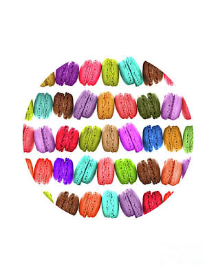 Pop Art Royalty-Free and Rights-Managed Images - Rainbow french macarons by Delphimages Photo Creations