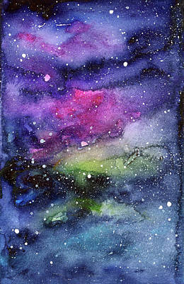 Nebula Painting - Rainbow Galaxy Watercolor by Olga Shvartsur