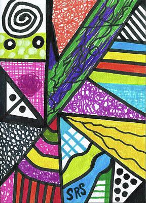 Uplifting Drawing - Rainbow Geometric by Susan Schanerman