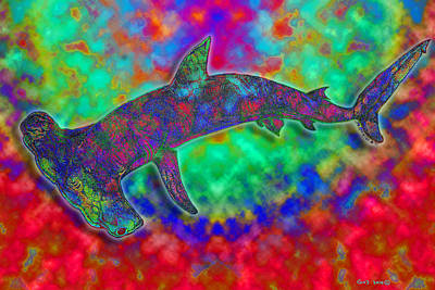 Rainbow Hammerhead Shark Art Print by Nick Gustafson