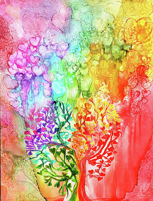 Mixed Media - Rainbow Heart Tree by Carol Cavalaris