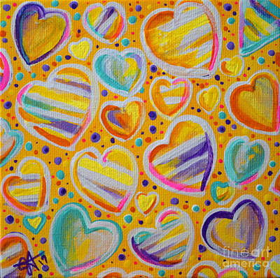 Painting - Rainbow Hearts by Jackie Carpenter