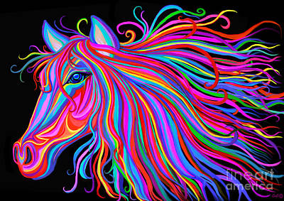 Mustang Painting - Rainbow Horse  by Nick Gustafson
