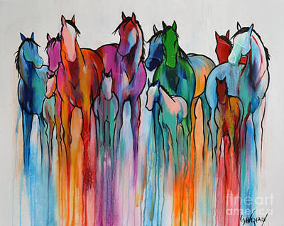 Animals Royalty-Free and Rights-Managed Images - Rainbow Horses by Cher Devereaux