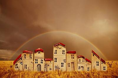 Row Mixed Media - Rainbow Houses by Heike Hultsch