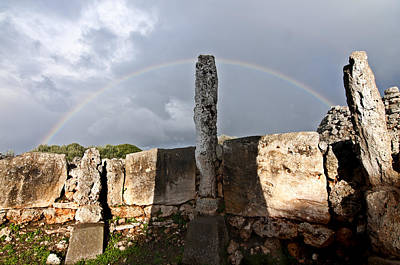 Photograph - Rainbow In Human Bronze Age Settlement In Minorca Island by Pedro Cardona Llambias