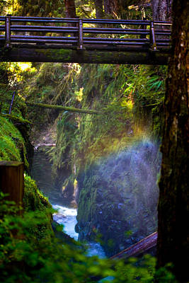 Photograph - Rainbow In The Mist - At Sol Duc Falls by Marie Jamieson