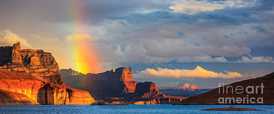 Cookie Jar Wall Art - Photograph - Rainbow In The Padre Bay, Lake Powell by Henk Meijer Photography