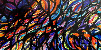 Skewed Painting - Rainbow Lace by Expressionistart studio Priscilla Batzell