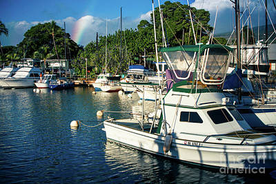 Rainbow Lahaina Marina Maui Hawaii Art Print by Sharon Mau