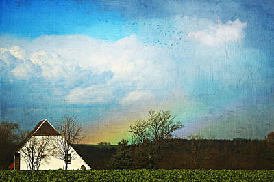 Agriculture Mixed Media - Rainbow Landscape by Heike Hultsch