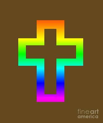 Rainbow Latin Cross Symbol Art Print by Frederick Holiday