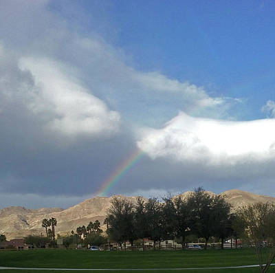 Photograph - Rainbow Lighting Mountain Top Palm Desert by Jay Milo