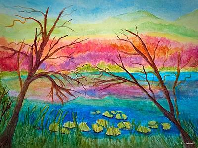 Painting - Rainbow Lily Pond by Anne Sands