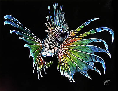 Drawing - Rainbow Lion Fish by Monique Morin Matson