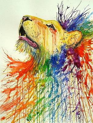 Splashy Painting - Rainbow Lion by Marily Valkijainen