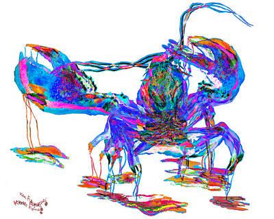 Watercolor Painting - Rainbow Lobster On Acid by Ken Figurski