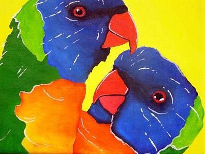 Parrot Painting - Rainbow Lorikeets  by Una  Miller