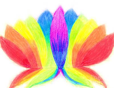 Rainbow Lotus Art Print by Chandelle Hazen