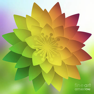 Digital Art - Rainbow Lotus by Mo T