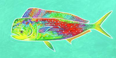 Wall Art - Painting - Rainbow Mahi by Guy Crittenden