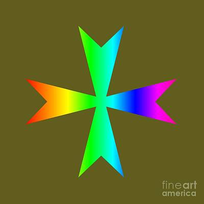 Rainbow Maltese Cross Variant Original by Frederick Holiday