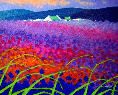 Glass Art Painting - Rainbow Meadow by John  Nolan