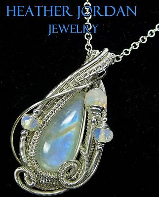 Wire Wrap Jewelry Jewelry - Rainbow Moonstone And Sterling Silver Wire-wrapped Pendant With Ethiopian Welo Opals Mnstpss7 by Heather Jordan
