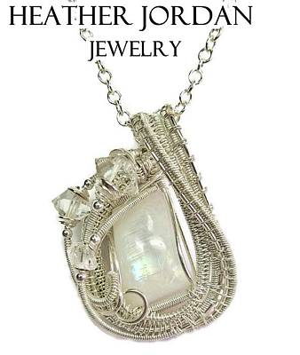 Wire Wrap Jewelry Jewelry - Rainbow Moonstone And Sterling Silver Wire-wrapped Pendant With Herkimer Diamonds Mnstpss10 by Heather Jordan