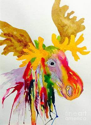 Painting - Rainbow Moose Head  - Abstract by Ellen Levinson