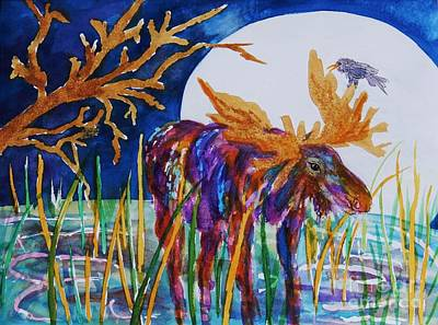 Painting - Rainbow Moose Night Grazing by Ellen Levinson
