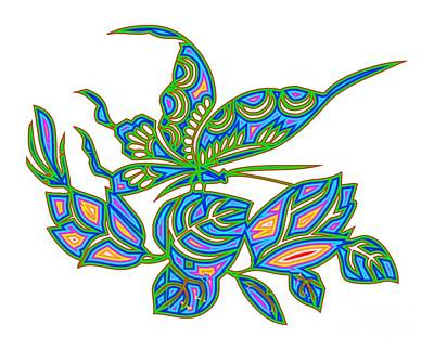 Digital Art - Rainbow Multicolored Butterfly On Leaves by Rose Santuci-Sofranko