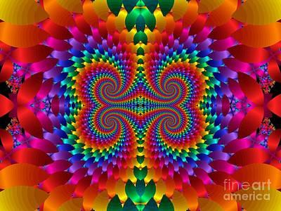 Digital Art - Rainbow Multicolored Galaxies Colliding Fractal by Rose Santuci-Sofranko