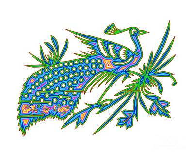 Digital Art - Rainbow Multicolored Peacock On A Branch by Rose Santuci-Sofranko