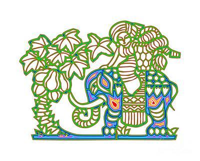 Digital Art - Rainbow Multicolored Woman Riding An Elephant by Rose Santuci-Sofranko