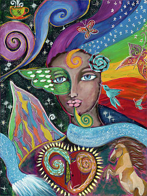 Wall Art - Painting - Rainbow Muse by Evelyne Verret