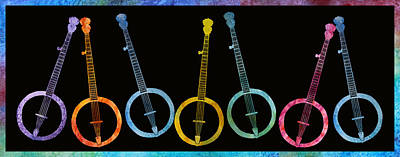 Banjo Digital Art - Rainbow Of Banjos by Jenny Armitage