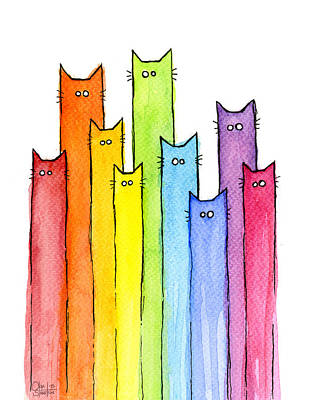 Cute Cartoon Painting - Rainbow Of Cats by Olga Shvartsur