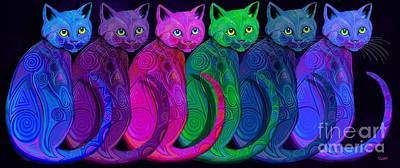 Digital Art - Rainbow Of Tribal Cats  by Nick Gustafson