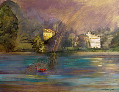 Rainbow On Lake Como Art Print by Maria Grazia  Repetto