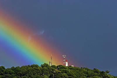 Rainbow On Lighthouse- St Lucia Art Print by Chester Williams