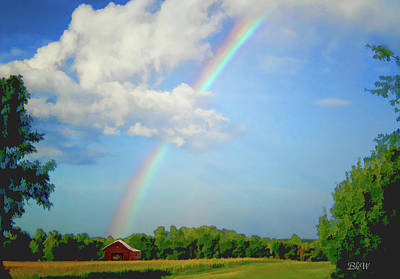 Digital Art - Rainbow On The Farm by Bonnie Willis