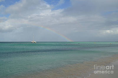 Photograph - Rainbow On The Horizon With A Boat In Aruba by DejaVu Designs