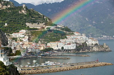 Rainbow Over A Town, Almafi, Amalfi Art Print by Panoramic Images
