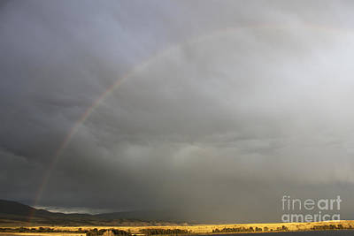 Rainbow Over Canyon Ferry Lake Art Print by Carolyn Brown