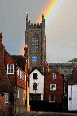 Digital Art - Rainbow Over Church by Julian Perry