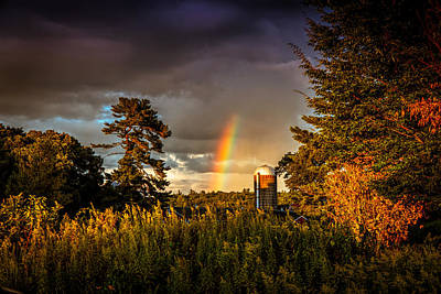 Photograph - Rainbow Over Farm by Lilia D