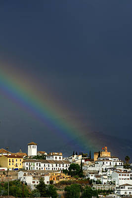 Rainbow Over Granada City And The Alhambra Palace II Art Print