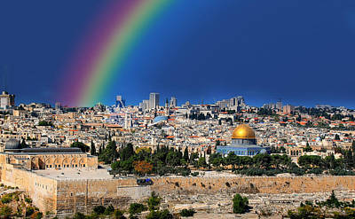 Photograph - Rainbow Over Jerusalem by Ericamaxine Price
